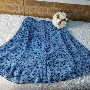 Jaclyn Smith Blue Floral Print Skirt Womens Small
